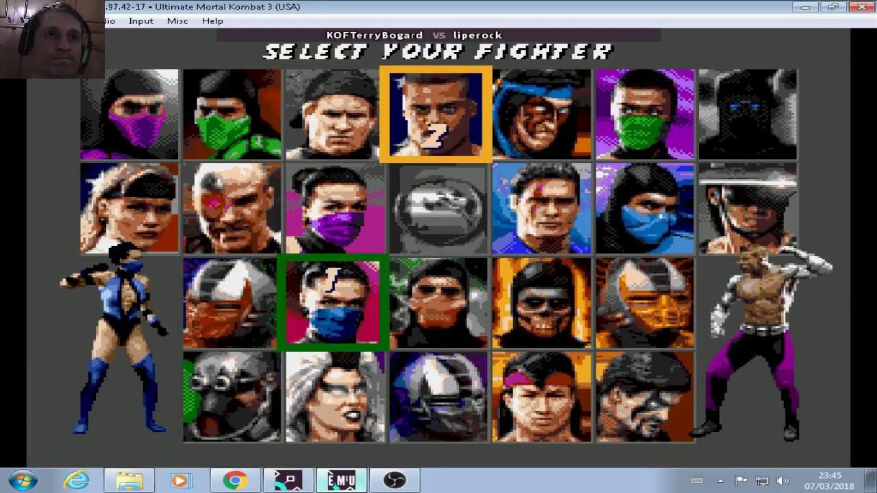 Fightcade 2 Online Ultimate Mortal Kombat 3 MEGADRIVE Liperock vs KOFTERRY