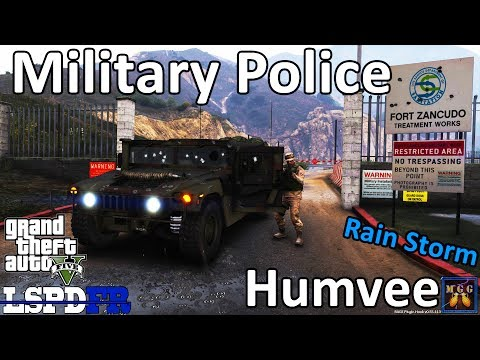Military Police Humvee Patrol in a Rain Storm GTA 5 LSPDFR Episode 148