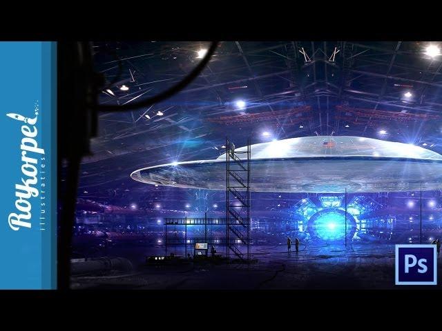 Secret US UFO - Photoshop speedart - time-lapse