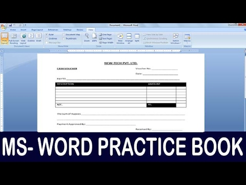 Exercise 10 | Ms Word Practice Book | How To Make Cash Voucher Format 01 Ms  Word  Make Voucher