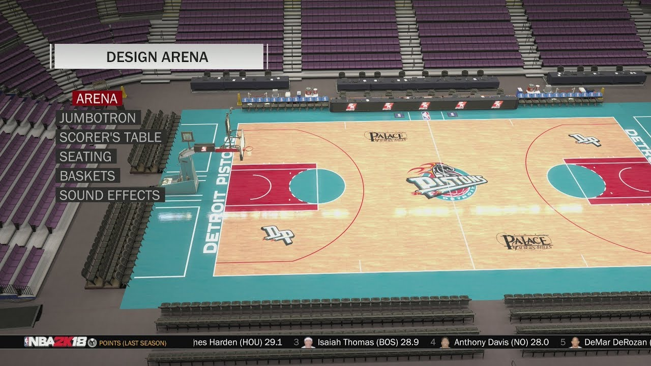 big sale 2d1ac aa9b1 NBA 2K18 Arena Creation  Detroit Pistons 1996 - 2001 (The Palace of Auburn  Hills)