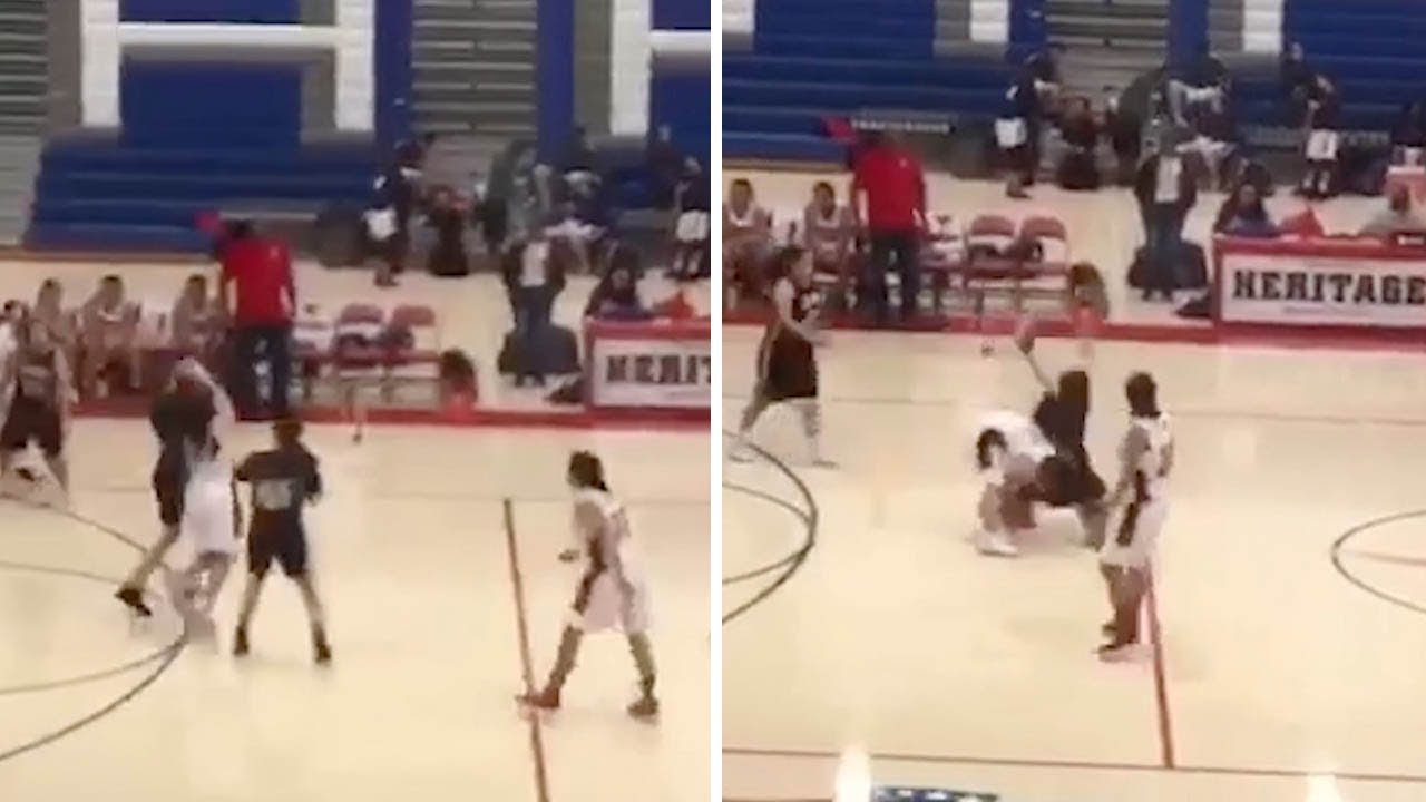 Schoolgirl Flips Over In Air After Basketball Body Throw