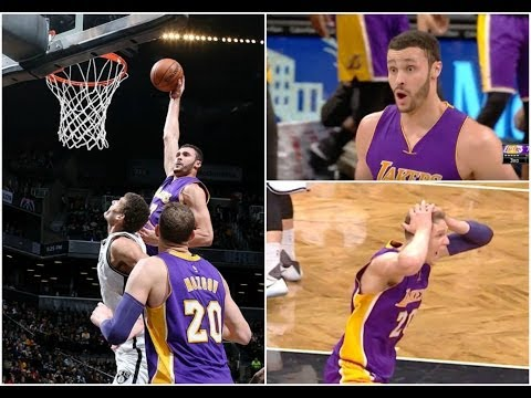 Larry Nance Jr with the Dunk of the Year over Brook Lopez ! Nets Bench  reaction says it All 944814867