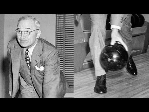 President Truman opens first White House bowling alley