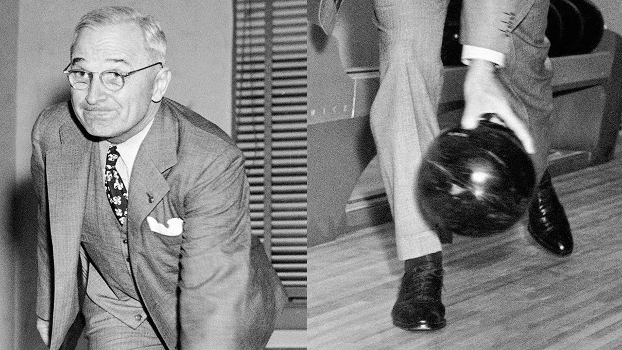president truman opens first white house bowling alley - youtube