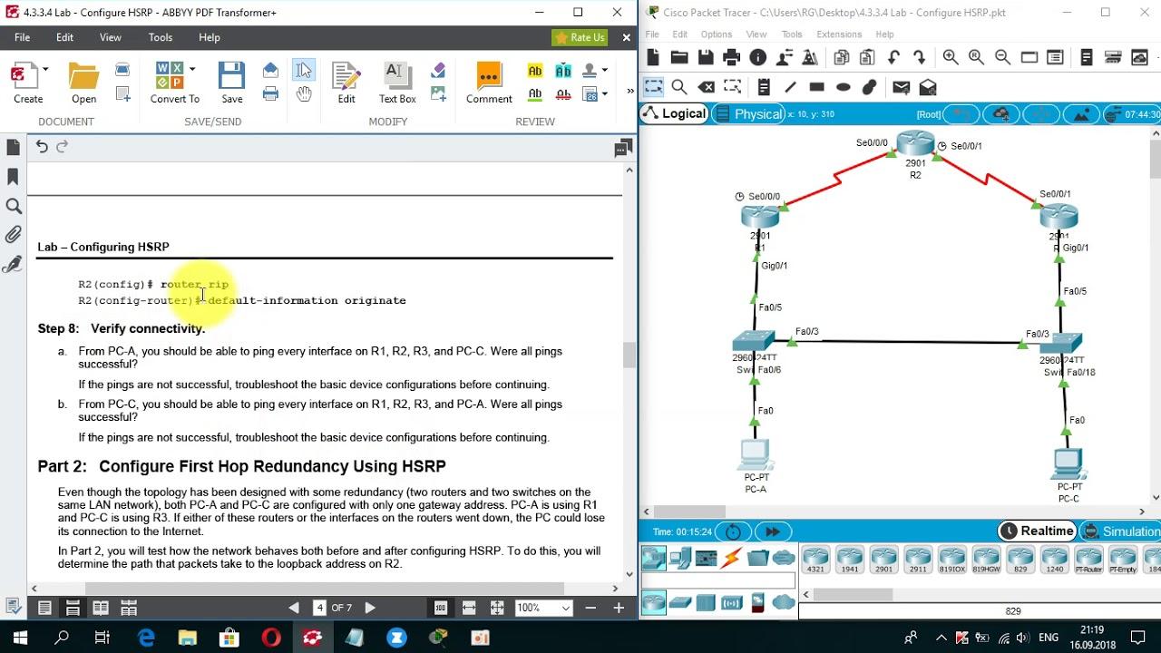 4 3 3 4 Packet Tracer - Configure HSRP