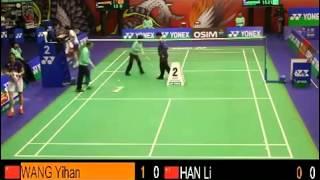 QF - WS - WANG Yihan vs LI Han - 2013 Hong Kong Open (F G1 8-8)