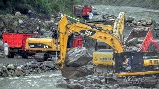 CAT 320D Komatsu PC200 Hyundai 210LC Excavators And Dump Trucks Working Hard On The River