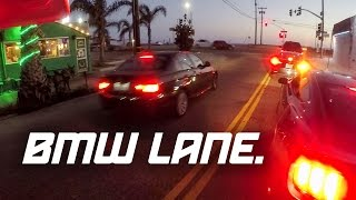 BMW Drives on wrong side of the road!