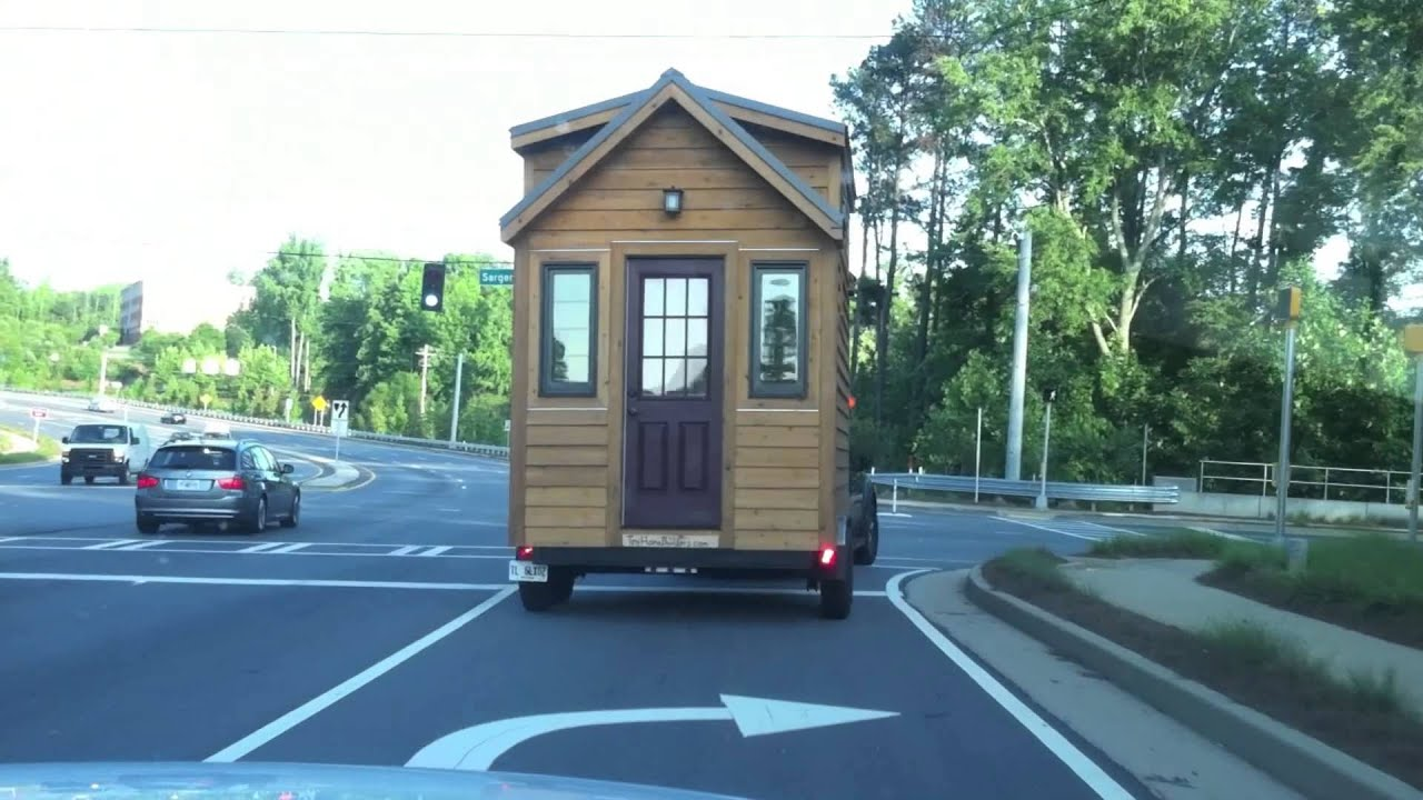 Behind a Tiny House on Wheels on the Road YouTube