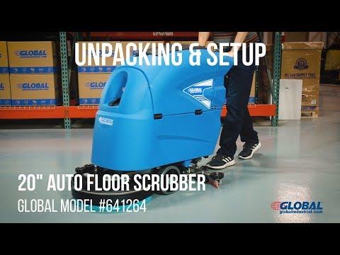 641264 Global Industrial Floor Scrubber Unpacking & Setup