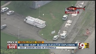 An overhead look at the site of a facility explosion in Evendale
