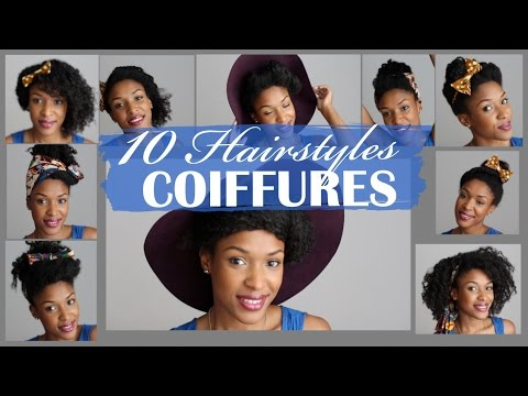 10 hairstyles 10 coiffures simples sur cheveux boucl s cr pus youtube. Black Bedroom Furniture Sets. Home Design Ideas