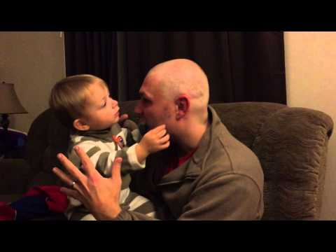 Funny Baby reaction to dads shaved beard and hair confused?