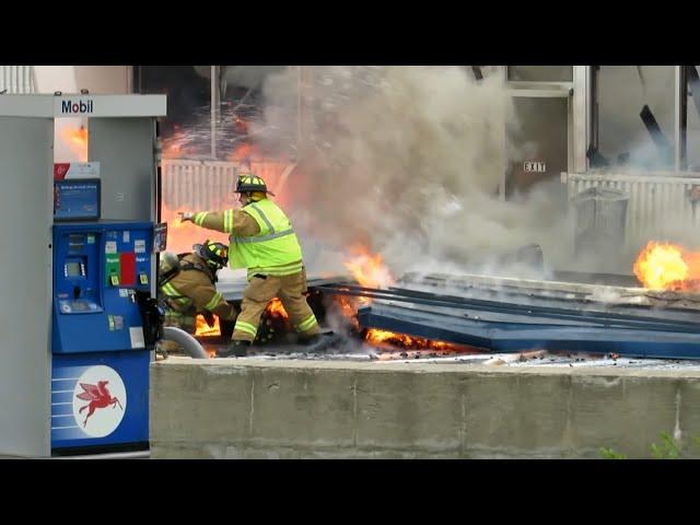 Iron Mountain, MI Gas Station On Fire, Structure Falls On Fireman! | Jason Asselin