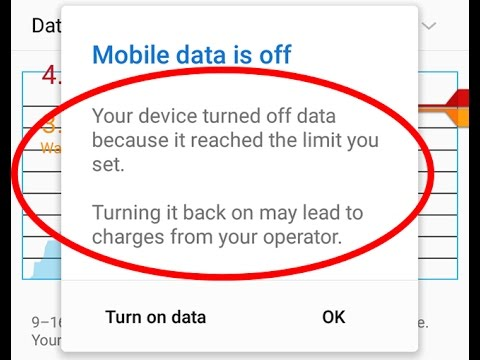 Fix Data usage warning-Your device turned off data because it reached the limit you set