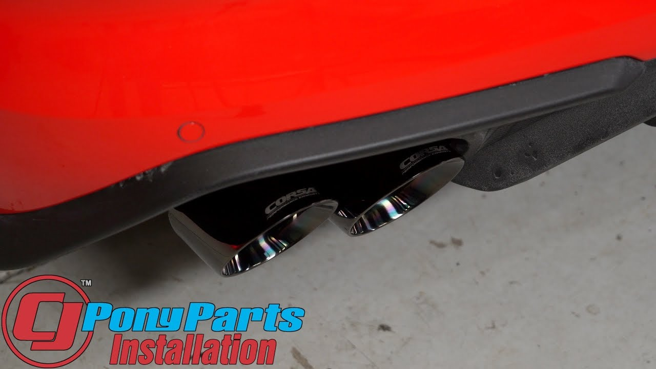 2018 mustang gt fastback corsa xtreme cat back exhaust with 4 black quad tips installation