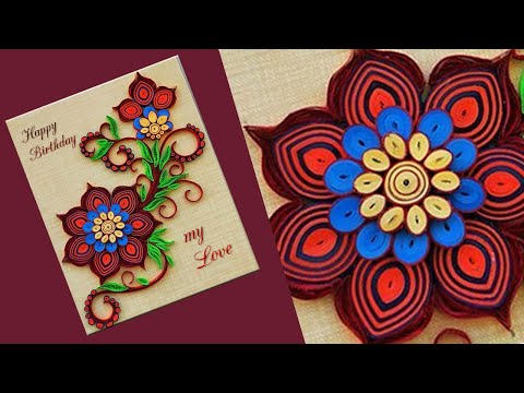 Quilled Flower Design Birthday Card // Handmade easy card Tutorial  Paper Quilling Art