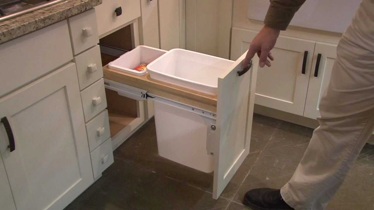 delightful Waste Baskets For Kitchen Cabinets #1: Kitchen Cabinet Pull Out Wastebasket by CliqStudios.com - YouTube