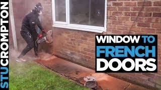 Converting window to french doors