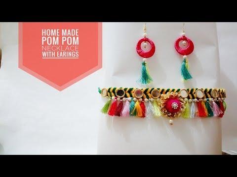 Home made Pom Pom necklace with earings | #Navaratri | Art & Creativity ❤