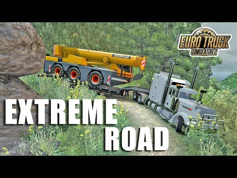 Peru Dead Road - Truck Peterbilt With Trailer Crane Overload - ETS2 Extreme Road - 동영상