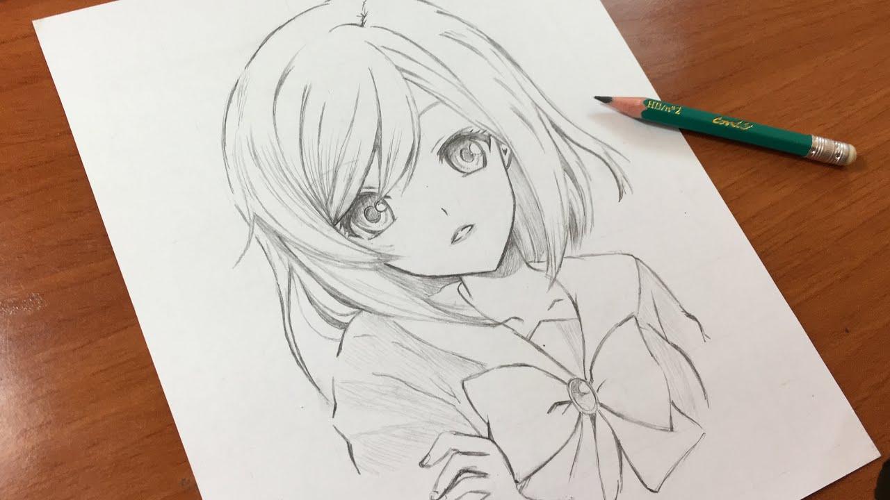 رسم فتاة أنمي باستخدام قلم رصاص فقط Youtube