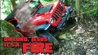 Jeep Wrangler CATCHES ON FIRE & BREAKS AXLE on Bearwallow Trail!