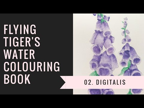 [02] Flying Tiger Copenhagen's Watercolouring book: Digitalis (Foxglove)