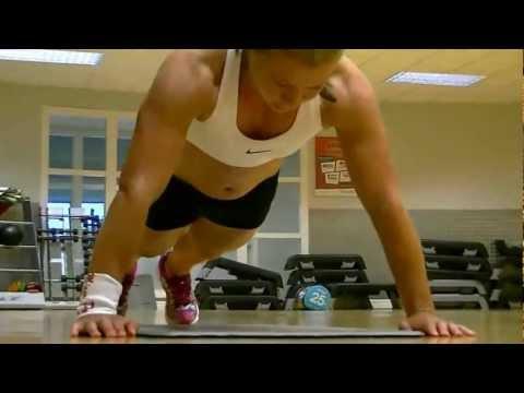 Female Fitness Model Workout Push Up Blitz