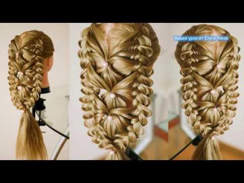 Коса в смешанной технике Причёска на выпускной Коса с бусинами на резиночках Техника трёх кос
