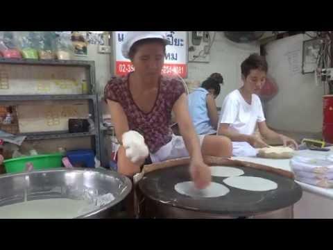 Rice paper sheets being made in Klong Toey wet market, Bangkok