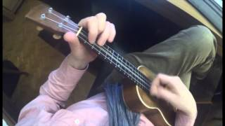 The venus of the soup kitchen ukulele cover showing chords with GoPro