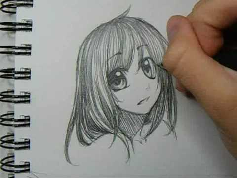 Drawing sketch anime headshot