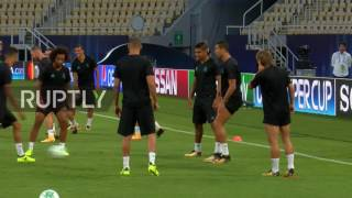Cristiano ronaldo took part in a training session with his real madrid team mates skopje, monday, ahead of tuesday's uefa super cup final.ronaldo was incl...
