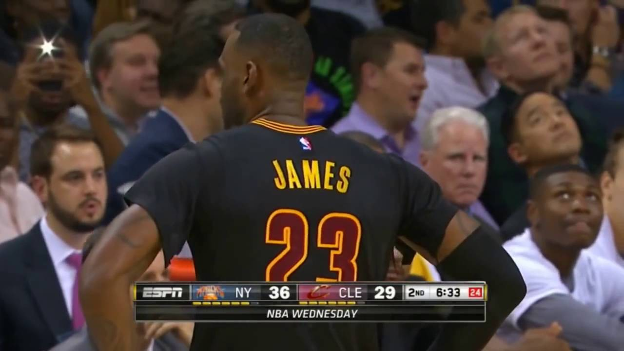 8c8c2f3fddf LeBron James rips sleeves off his jersey (Knicks vs Cavs) HD - YouTube