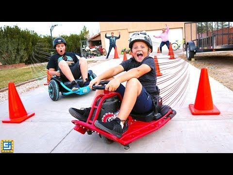 Ride on Cars vs Power Wheels vs Drift Cart Race!