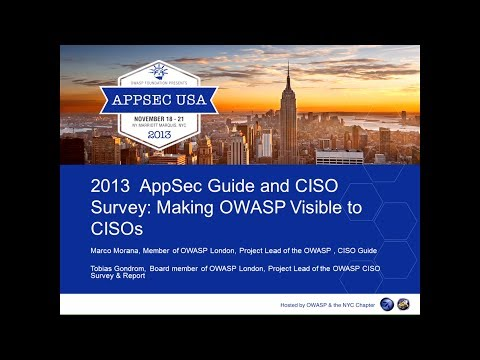 2013 AppSec Guide and CISO Survey - Marco Morana, Tobias Gondrom