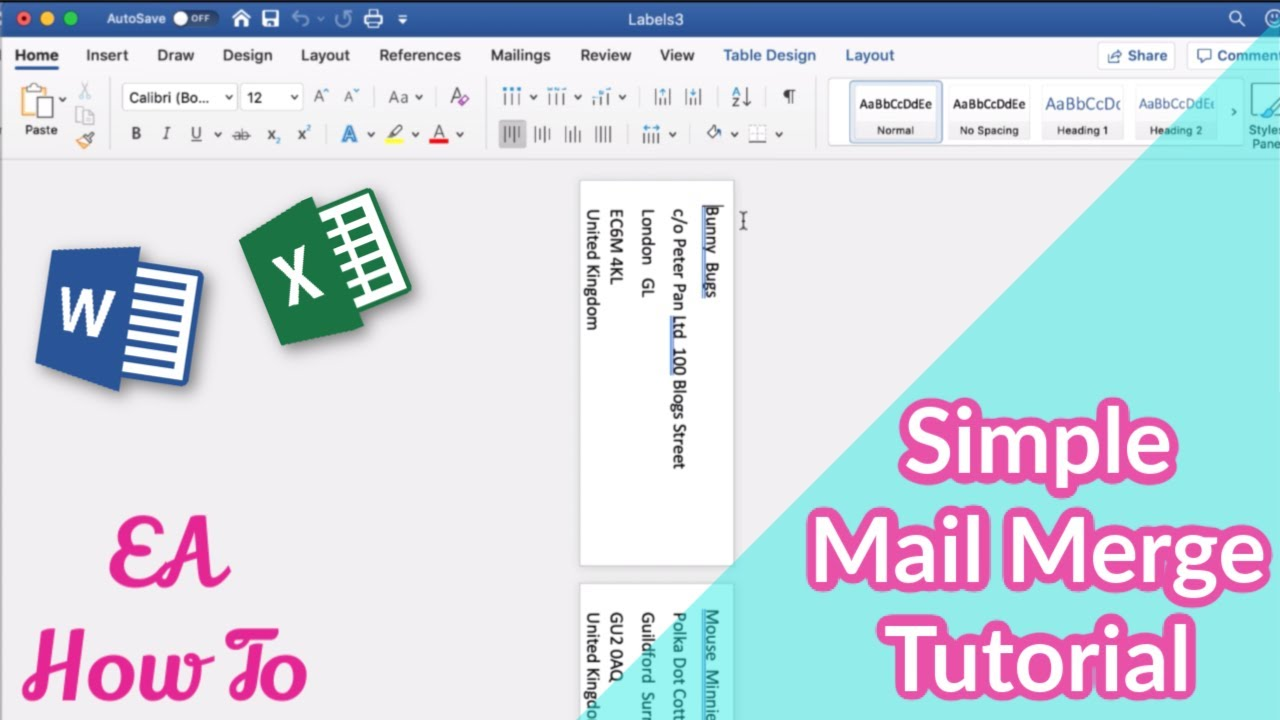 How To Use Mail Merge to Create Labels from Excel | ** Executive Assistant How To **