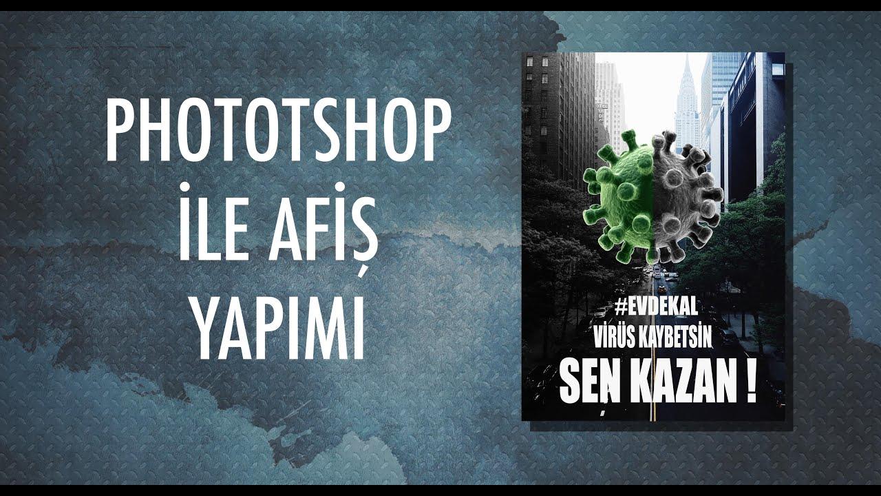 #EVDEKAL- Photoshop ile afiş tasarımı nasıl yapılır? #PSD0003