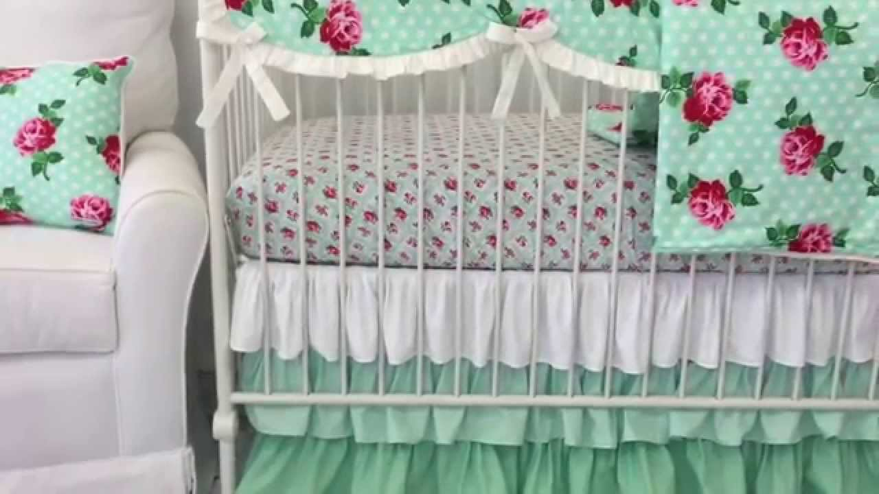Lucys Mint Floral Crib Bedding Mint Nursery Design Youtube