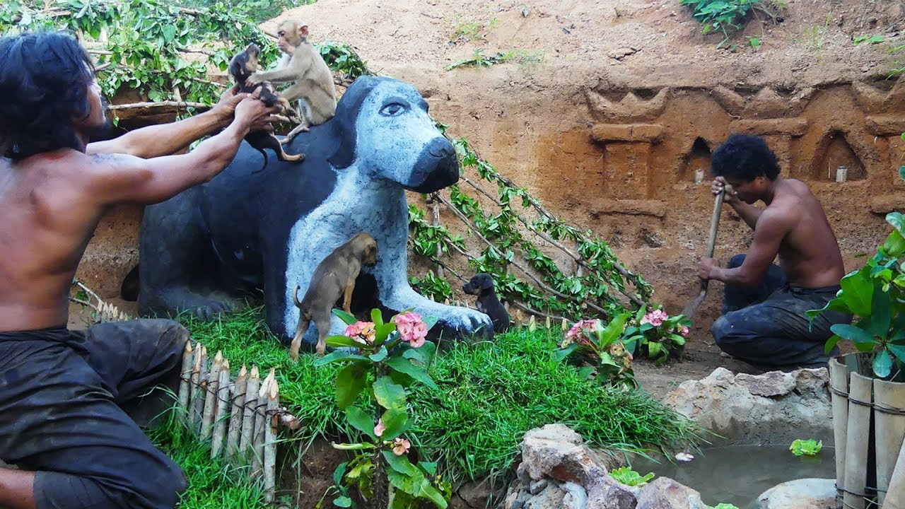Carving puppy's mum and build sweet dog house for cute puppies was rescued with his friend monk