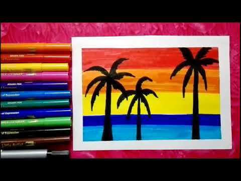 Easiest Way To Draw Sunset Scenery For Kids Step By Step Learn