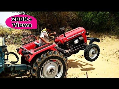 Dangerous Tractor Stunt in Rajasthan/Massey Ferguson 1035 Loaded Trolly With Bajari