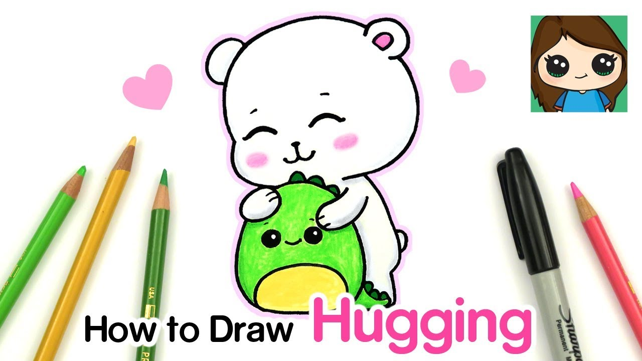 How To Draw Hugging A Friend Cute Bear Youtube