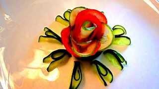 Роза из помидора и огурца. Цветы из овощей. Decoration of Vegetables.