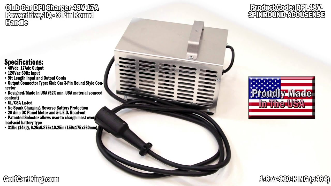 Club Car Powerdrive 48 Volt Battery Charger   DPI Golf Cart Charger  YouTube