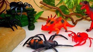 Динозавры. СТРАШИЛИЩЕ красное! Пауки. Игрушки. Дети. Мультики