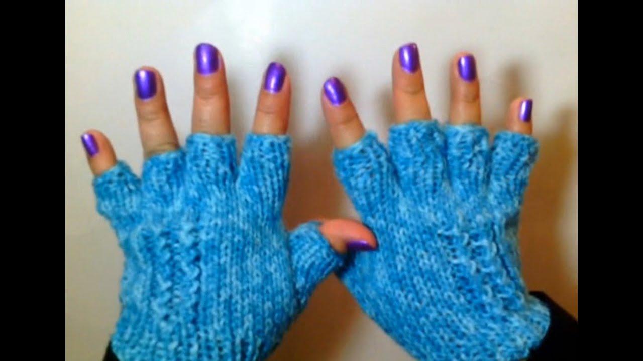 Como Tejer Lindos Guantes de Invierno / How to Knit Half-Finger ...