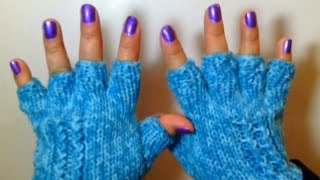 Repeat youtube video Como Tejer Lindos Guantes de Invierno / How to Knit Half Finger Gloves